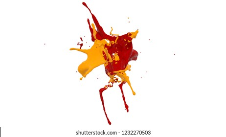 yellow and red paint splashes. 3d rendering