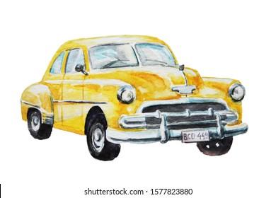 yellow retro car watercolor drawing