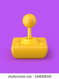 Yellow retro joystick on a purple background. 3d render. Angled view. Kitsch Art Series.