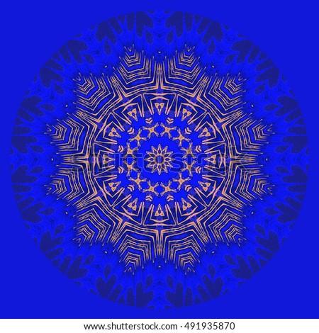 Yellow Rich Blue Flower Floral Twist Turn Spiral Oval Bright Royal Background Backdrop Symbol Pretty