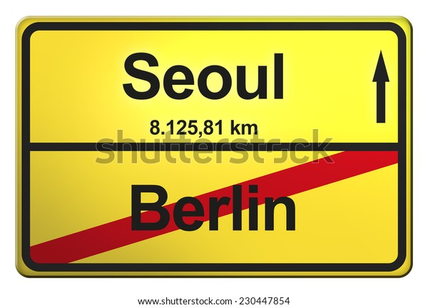 yellow road sign with the cities Berlin, Seoul