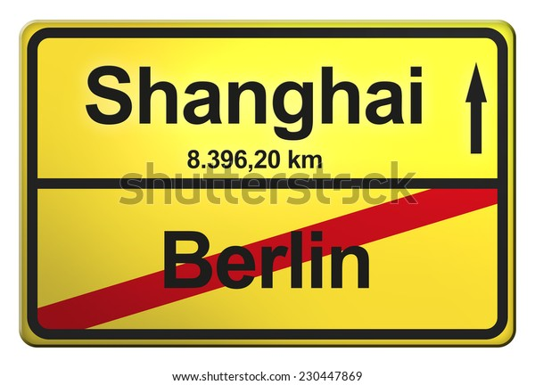 yellow road sign with the cities Berlin, Shanghai