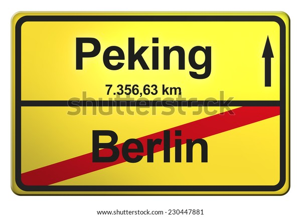 yellow road sign with the cities Berlin, Peking