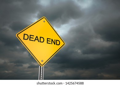 Yellow road warning sign , Dead End , 3d render