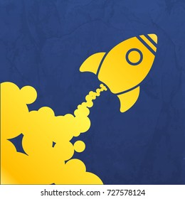 yellow rocket icon with clouds on a blue crumpled background