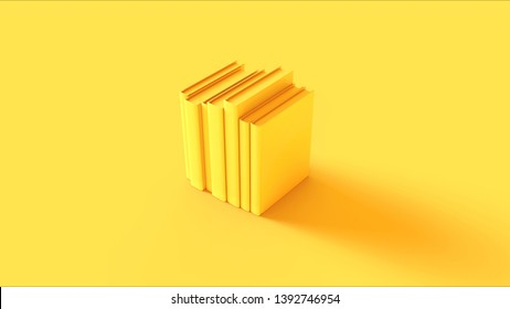 Yellow Row of Books 3d illustration 3d render