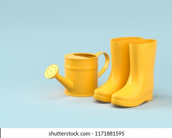 Yellow Rubber boots with watering can. Creative layout on pastel blue background. 3d render