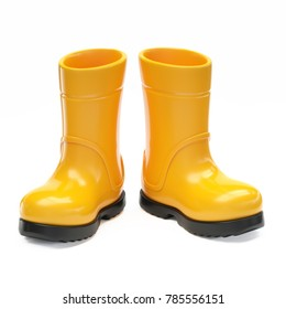 Yellow rubber rain boots isolated on white background 3d rendering
