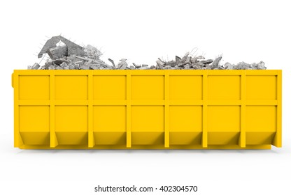 Yellow rubble container left profile view isolated on white background. 3D Rendering, 3D Illustration.