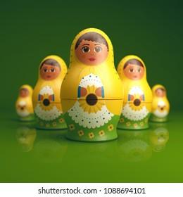 Yellow Russian Doll on green background. Nesting Doll Matryoshka with sunflowers. Matrioska. Symbol of Russia. Babushka Souvenir. 3D illustration.