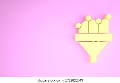 Yellow Sales funnel with chart for marketing and startup business icon isolated on pink background. Infographic template. Minimalism concept. 3d illustration 3D render