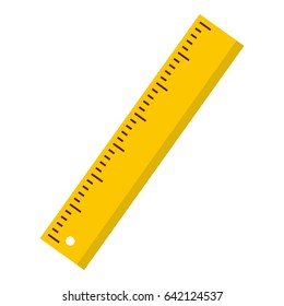Yellow scale ruler icon. Flat illustration of yellow scale ruler icon logo isolated on white background