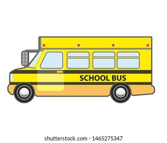 Yellow school bus icon. Vehicle for kids transportation. Children transport - schoolbus.  flat style illustration isolated on white background.