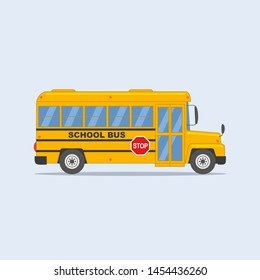 Yellow school bus isolated on light background.