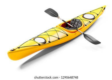 Yellow sea kayak and oars 3D. Isolated on white background