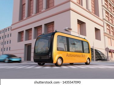 Yellow self-driving shuttle bus is driving through an intersection. 3D rendering image.