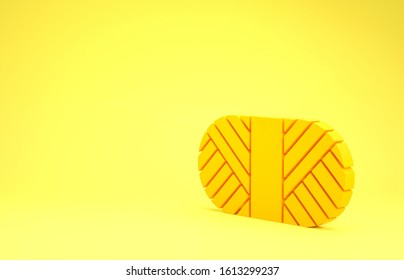 Yellow Sewing thread on spool icon isolated on yellow background. Yarn spool. Thread bobbin. Minimalism concept. 3d illustration 3D render