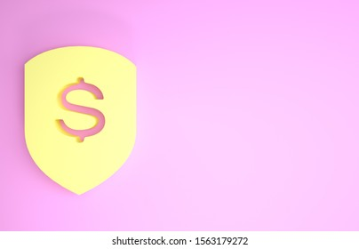 Yellow Shield and dollar icon isolated on pink background. Security shield protection. Money security concept. Minimalism concept. 3d illustration 3D render