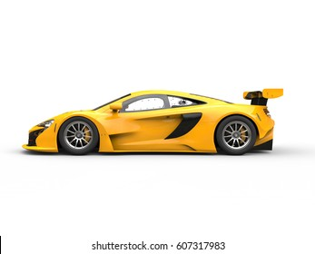 Yellow shiny modern race car - side view - 3D Illustration