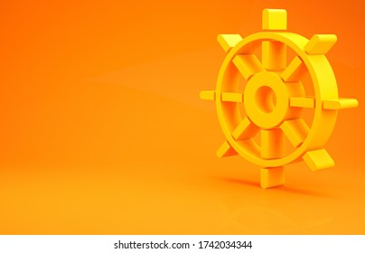 Yellow Ship steering wheel icon isolated on orange background. Minimalism concept. 3d illustration 3D render