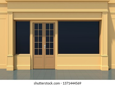 Yellow shopfront with large windows. Small business yellow store facade3D render