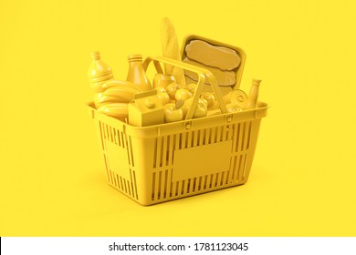 Yellow shopping basket with yellow food on yellow background. Food delivery. 3d illustration