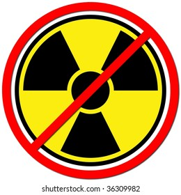 Yellow sign against radiation on white background.
