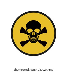 Yellow sign of danger. Skull, crossbones. Abstract concept, icon. Raster illustration on white background.
