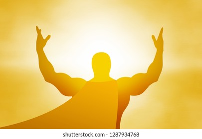 Yellow silhouette of a superhero on a yellow background in the sunlight, hands in the air, jubilation, explosion, sunrise