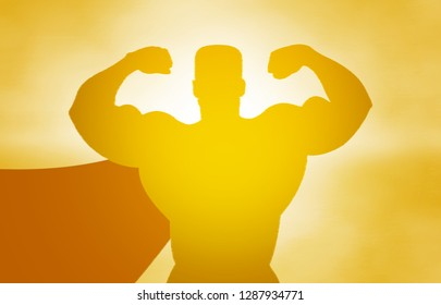 Yellow silhouette of a superhero on a yellow background in the sunlight, hands in the air, jubilation, explosion, sunrise, muscles, torso