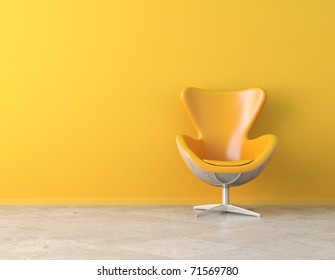 yellow simple interior with chair and copy space on the wall