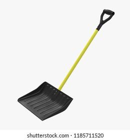 Yellow Sleigh Snow Shovel on white. 3D illustration
