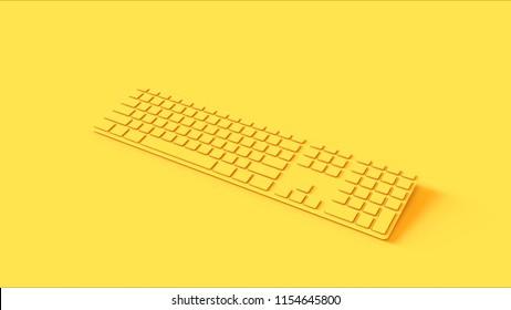 Yellow Slim Computer keyboard 3d illustration 3d render