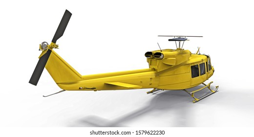 Yellow small military transport helicopter on white isolated background. The helicopter rescue service. Air taxi. Helicopter for police, fire, ambulance and rescue service. 3d illustration.