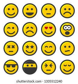 Yellow Smile Icons Set on White Background.