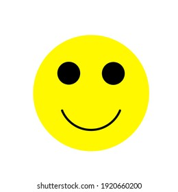 Yellow smiling face illustration on white