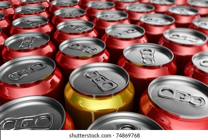Yellow soda can standing out amongst red soda cans