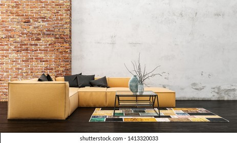 Yellow sofa with black cushions and a coffee table on a colorful geometric carpet in a trendy living room with grunge walls and a red brick wall feature. 3d rendering