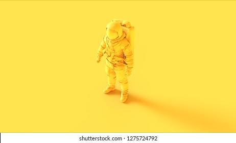 Yellow Spaceman Astronaut Cosmonaut 3d illustration 3d render