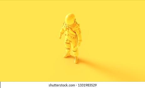 Yellow Spaceman Astronaut Cosmonaut Advanced Crew Escape Suit 3d illustration 3d render