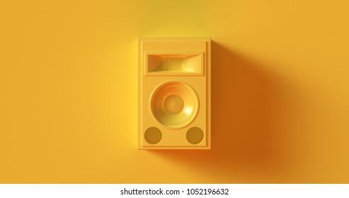 Yellow Speaker Unit 3d illustration 3d rendering