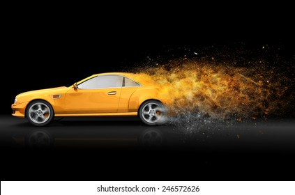 Yellow sport coupe with trail of dust
