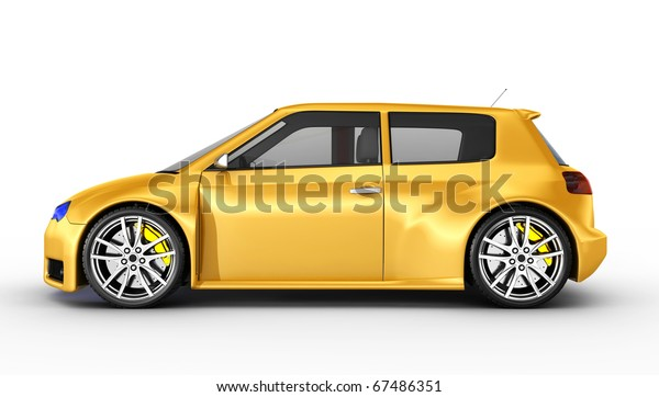 Yellow sports car isolated on white. No trademark issues as the car is my own design. This is a detailed 3D render.