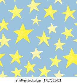 Yellow stars on grey-blue background repeating seamless pattern