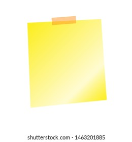 Yellow sticker sheet, pinned adhesive tape, ready for your use. Notice board element. Perfect for back to school or business design theme. Isolated on white background. Front view.