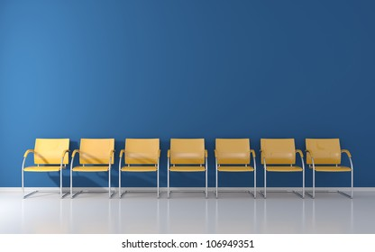 Yellow stools in the waiting room