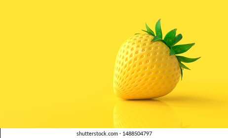 Yellow strawberry and copy space for your text. minimal idea concept, 3D Render.