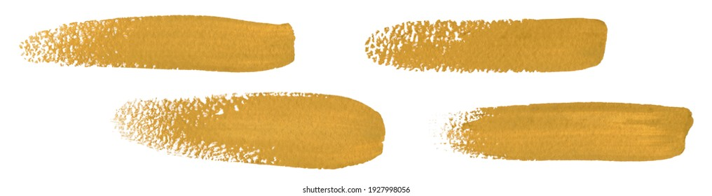 Yellow strokes of the paint brush set isolated on a white. Ochre paint Smears.