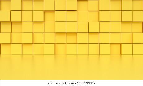 yellow studio set scene 3d render abstract minimal background