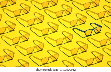 Yellow Stylish hipster glasses pattern backdrop Colorful design Beautiful vacation still life 3d render illustration idea Sweet summer objects closeup